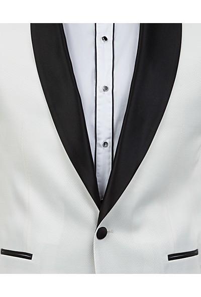 D'S Damat Slim Fit Beyaz Smokin Takim Elbise