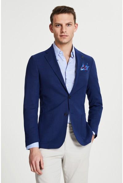 D'S Damat Slim Fit Saks Mavi Kumaş Ceket