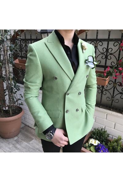 Terzi Adem İtalyan Stil Kruvaze Erkek Blazer Açık Yeşil Tek Ceket T3355