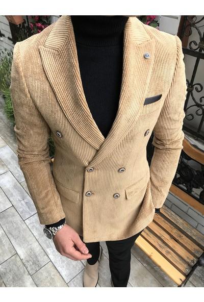 Terzi Adem İtalyan Stil Erkek Kadife Kruvaze Ceket Bej T4241