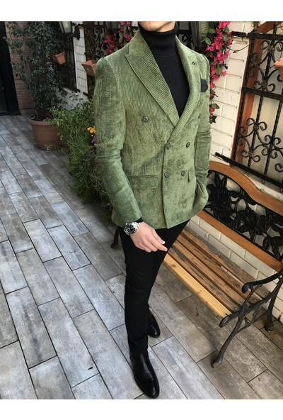 Terzi Adem İtalyan Stil Erkek Kadife Kruvaze Ceket Yeşil T4316