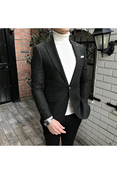 Terzi Adem İtalyan Stil Erkek Slim Fit Yün Blazer Tek Ceket Yeşil T4436