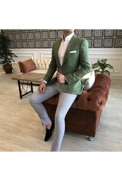 Terzi Adem İtalyan Stil Erkek Slim Fit Blazer Açık Yeşil Tek Ceket T3496