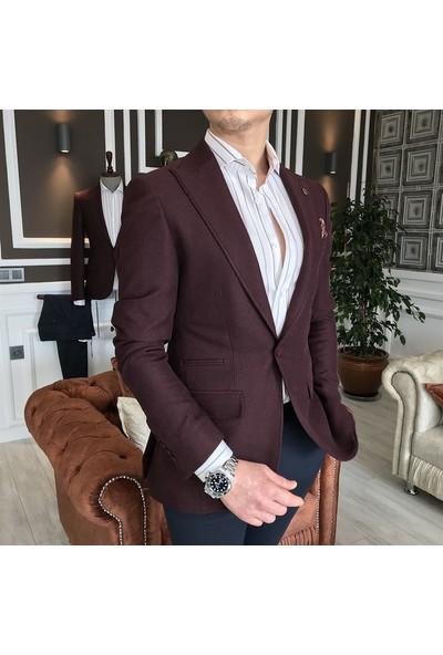 Terzi Adem İtalyan Stil Erkek Slim Fit Blazer Bordo Tek Ceket T3576