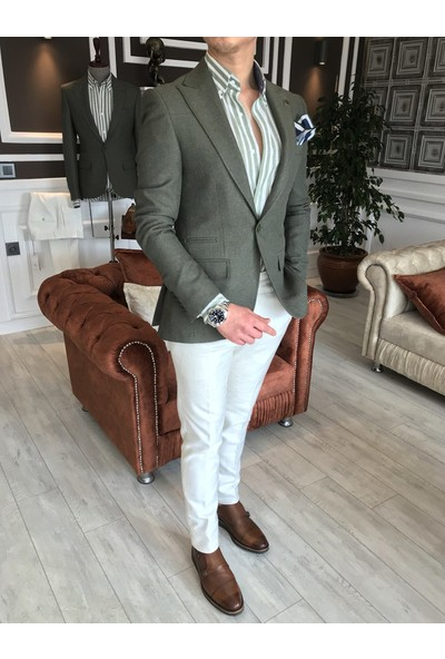 Terzi Adem İtalyan Stil Erkek Slim Fit Blazer Tek Ceket Yeşil T4587