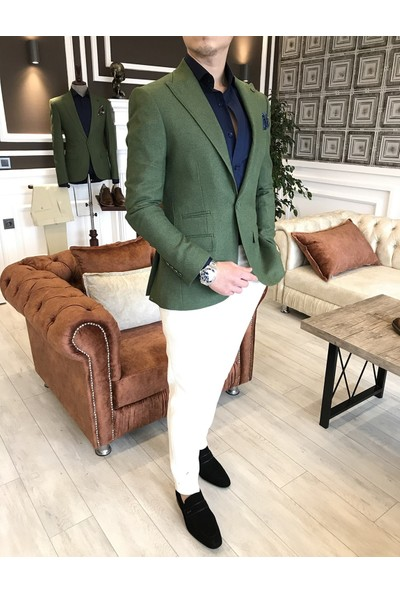 Terzi Adem İtalyan Stil Erkek Slim Fit Blazer Yeşil Tek Ceket T3579