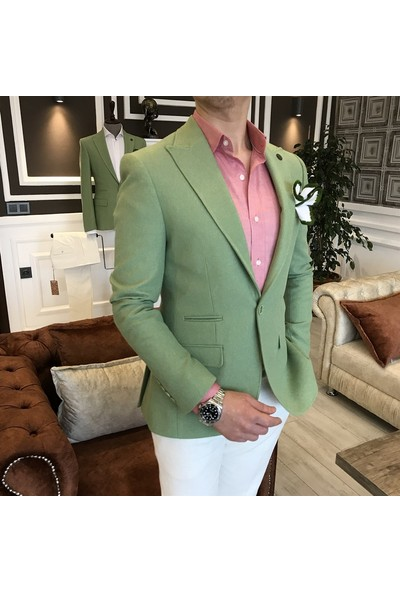 Terzi Adem İtalyan Stil Erkek Slim Fit Blazer Yeşil Tek Ceket T3583