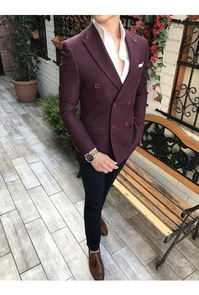 Terzi Adem İtalyan Stil Erkek Slim Fit Bordo Kruvaze Tek Ceket T3678
