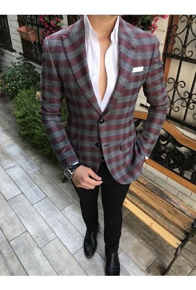 Terzi Adem İtalyan Stil Erkek Slim Fit Bordo Tek Ceket T3786