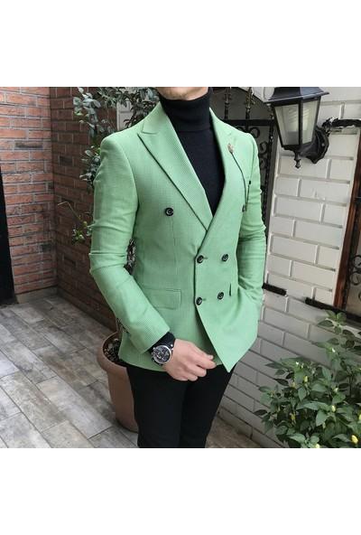 Terzi Adem İtalyan Stil Erkek Slim Fit Yeşil Kruvaze Tek Ceket T3752