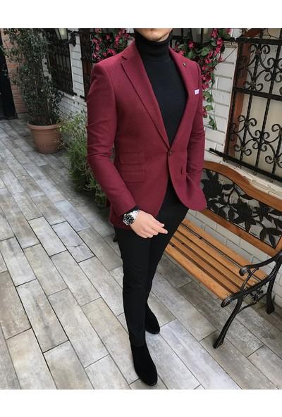Terzi Adem İtalyan Stil Erkek Slim Fit Yün Blazer Tek Ceket Bordo T4442