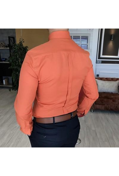 Terzi Adem İtalyan Stil Slim Fit Dik Yaka Saten Erkek Gömlek Turuncu T4747