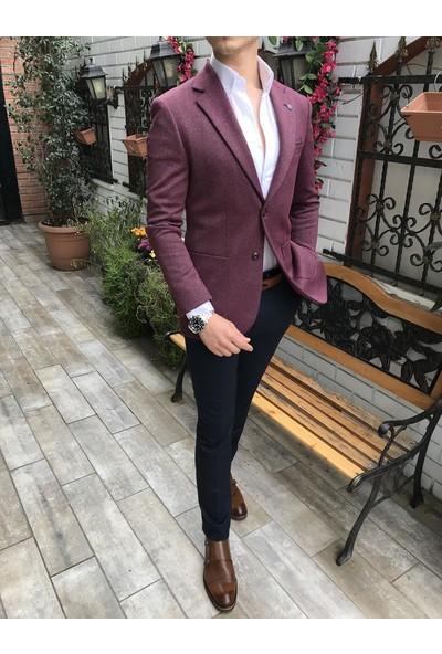 Terzi Adem İtalyan Stil Slim Fit Erkek Tek Blazer Ceket Bordo T4238