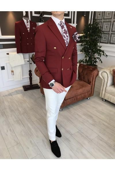 Terzi Adem İtalyan Stil Slim Fit Kruvaze Erkek Blazer Bordo Tek Ceket T3325