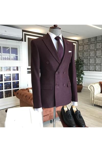Terzi Adem İtalyan Stil Slim Fit Kruvaze Erkek Blazer Bordo Tek Ceket T3362