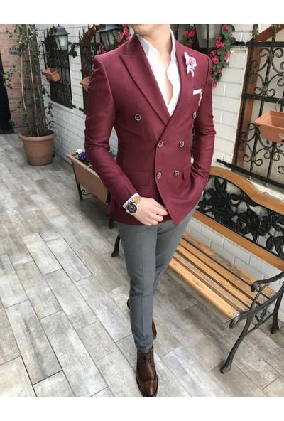 Terzi Adem İtalyan Stil Slim Fit Kruvaze Erkek Blazer Bordo Tek Ceket T3366