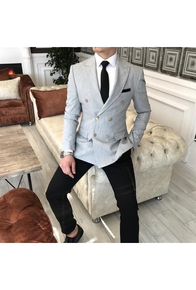 Terzi Adem İtalyan Stil Slim Fit Kruvaze Erkek Blazer Gri Tek Ceket T3341