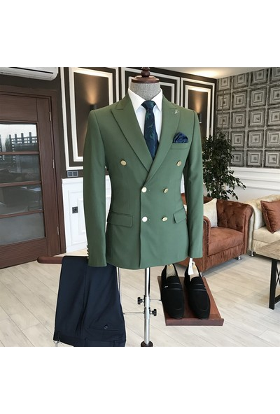 Terzi Adem İtalyan Stil Slim Fit Kruvaze Erkek Blazer Yeşil Tek Ceket T3343