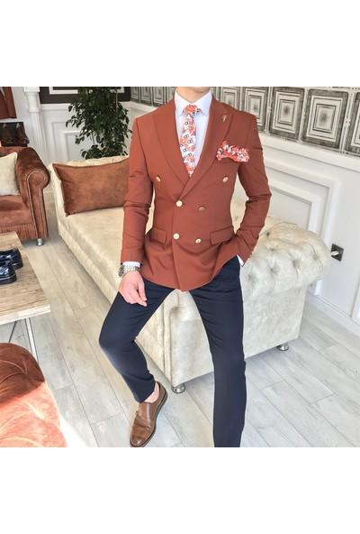 Terzi Adem İtalyan Stil Slim Kruvaze Erkek Blazer Kiremit Tek Ceket T3345