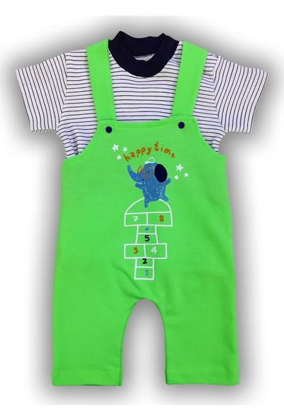 By Leyal For Kids Erkek Bebek Happy Time Fil Detaylı Salopet Ve T-Shirt Takım-4504