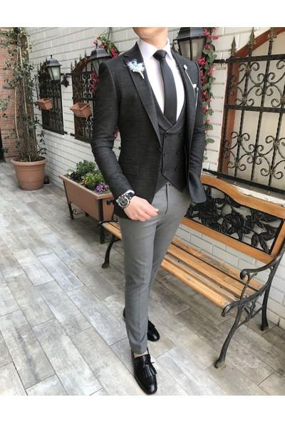 Terzi Adem İtalyan Stil Ceket Yelek Pantolon Siyah 8 Drop Takım Elbise T3445