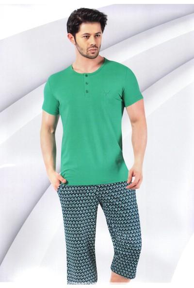 Aydoğan Erkek Pijama Kapri Takım Kısa Kol Modal Kumaş