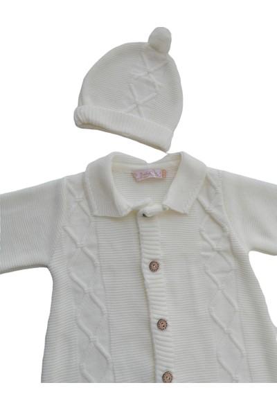 Babymy Krem Triko Şapkalı Tulum