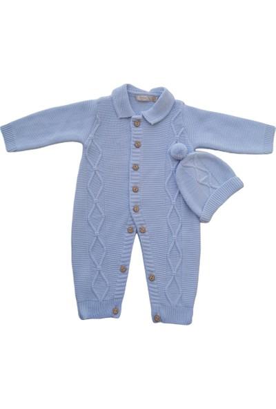 Babymy Mavi Triko Şapkalı Tulum