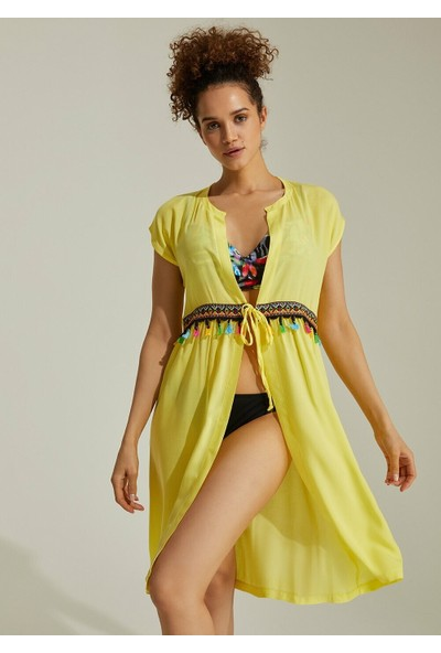 Suwen Sunset Plaj Elbisesi - Sarı M
