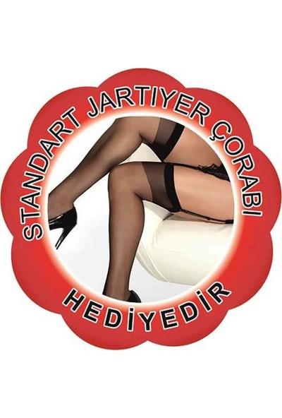 Merry See Deri Jartiyerli Gecelik Takım+ Çorap