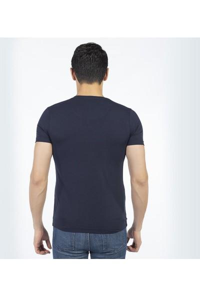 Sccorex Bisiklet Yaka T-Shirt Lacivert