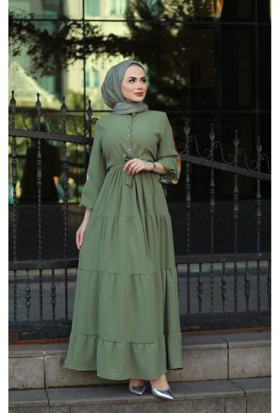 Moda Ekru Kol Nakış Detaylı Elbise Haki 532