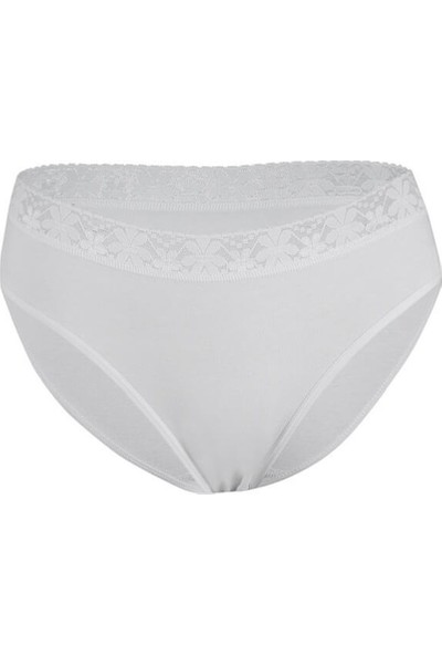 Özten 12'li Paket Özten 206 Beli Dantelli Koton Kadın Likralı Bikini Külot