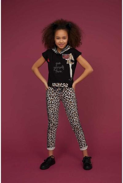 Littlestar Kız Çocuk Leopar Kapüşonlu Kısakol Body