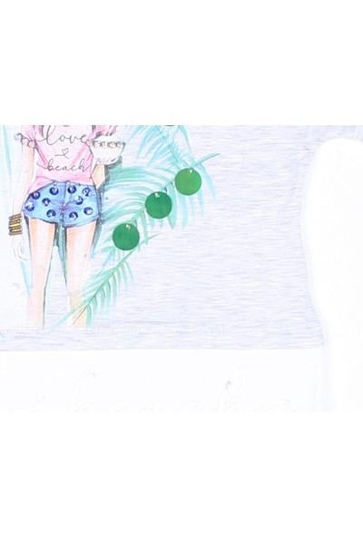 Littlestar Kız Çocuk Düşük Omuz Şık Baskılı T-Shirt