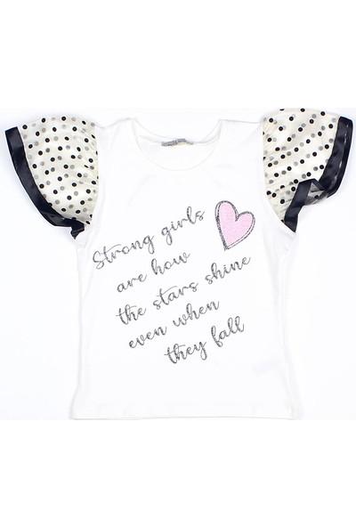 Littlestar Kız Çocuk Kolları Tüllü Baskılı T-Shirt