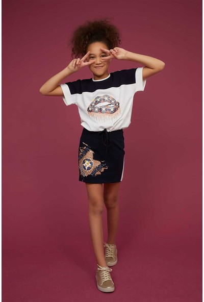 Littlestar Kız Çocuk Bel Büzgülü T-Shirt