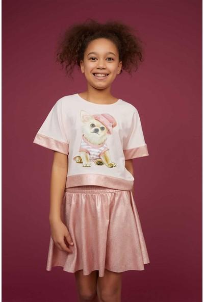 Littlestar Kız Çocuk Köpek Baskılı Süslü T-Shirt