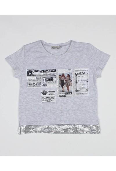 Littlestar Kız Çocuk Baskılı Pul Payetli Şık T-Shirt