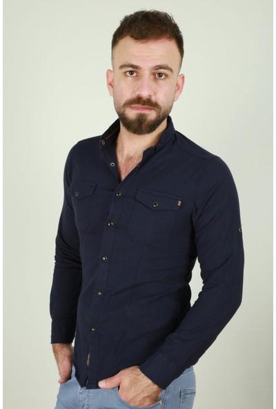Z Giyim Erkek Slimfit Spor Çift Cepli Çıtçıtlı Pamuklu Gömlek