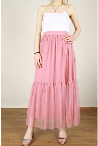 Z Giyim Kadın Beli Lastikli Astarlı Uzun Tütü Etek