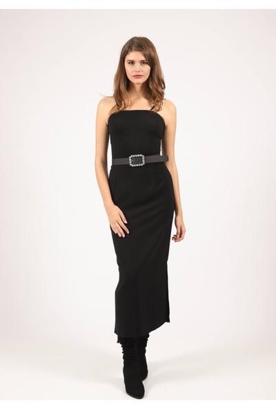 Mio Secret Kadın Uzun Yan Yırtmaçlı Kalem Etek Siyah 38