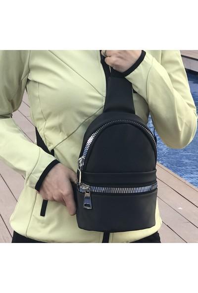 S Design Saten Kalın Fermuarlı Göğüs Sırt Çapraz Kadın Çanta-Siyah