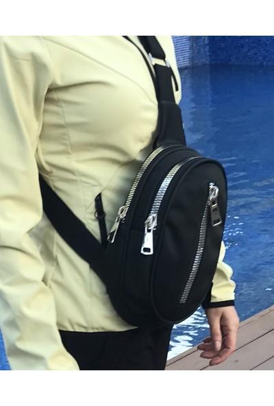 S Design Saten Kalın Çift Fermuarlı Göğüs Sırt Çapraz Kadın Çanta-Siyah