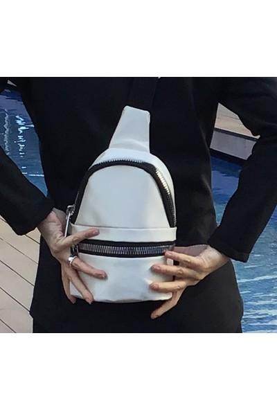 S Design Saten Kalın Fermuarlı Göğüs Sırt Çapraz Kadın Çanta-Krem