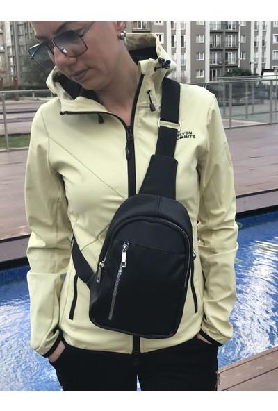 S Design Saten Çapraz Kadın Çanta- Mini Omuz Sırt Çantası-Siyah
