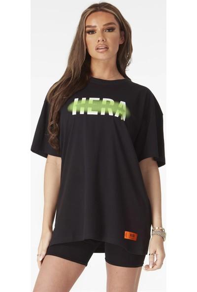 Soydance Önü Neon Büyük Yazılı Oversize T Shirt Siyah