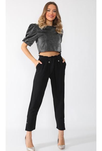 Alışveriş Sokağı Beli ve Paçası Çakımlı Yüksek Bel Kadın Havuç Pantolon