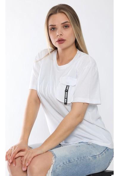 Alışveriş Sokağı Cebi Çıtçıtlı Şeritli Salaş Kadın Tişört
