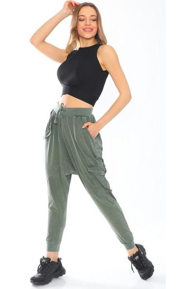 Alışveriş Sokağı Cepleri Metal Detaylı Kadın Şalvar Pantolon